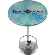 "Trademark Global® 28"" Solid Wood/Chrome Pub Table, Blue, Blue Moon"