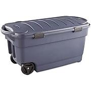 Rubbermaid® Roughneck™ 45 Gallon Wheeled Storage Box, Dark Indigo Metallic (2463DIM)