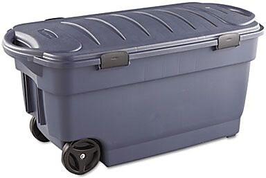 Rubbermaid® Roughneck™ 45 Gallon Wheeled Storage Box, Dark Indigo Metallic