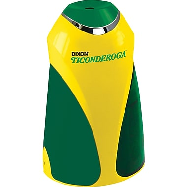 Ticonderoga (39572) Personal Electric Pencil Sharpener with Bonus 12 Ticonderoga Pencils, Yellow/Green, Each