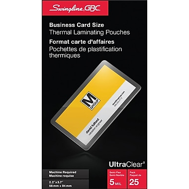 Swingline® GBC UltraClear™ Thermal Laminating Pouch, 2-3/16