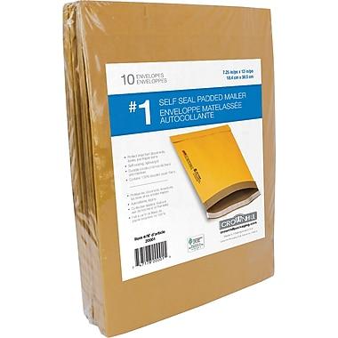 Enveloppes rembourrées Kraft autocollantes, n° 1, 7,25 po x 12 po, paq./10