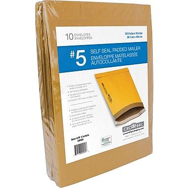 Enveloppes rembourrées Kraft autocollantes, n° 5, 10,5 po x 16 po, paq./10