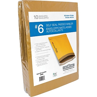 Crownhill Kraft Self-Seal Padded Mailer, #6, 12.5