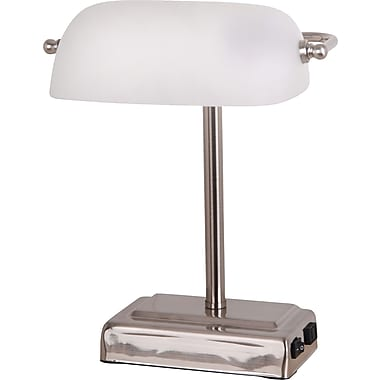 "Tensor 13-Watt CFL Banker's Lamp with White Glass Shade and 2-Prong Outlet on Base, Brushed Steel, 13-4/5"" H"