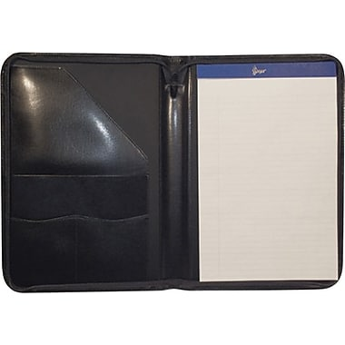 Royce Leather Zip Around Writing Padfolio, Black