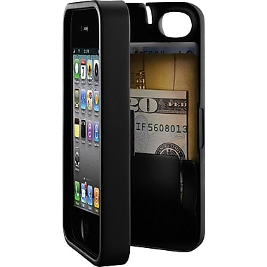 EYN Smartphone Case for iPhone 4/4S with Hinged Storage Back, Black