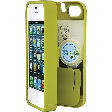 EYN Smartphone Case for iPhone 4/4S with Hinged Storage Back, Chartreuse