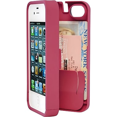 EYN Smartphone Case for iPhone 4/4S with Hinged Storage Back, Pink