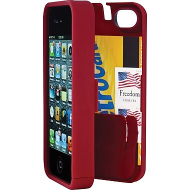 EYN Smartphone Case for iPhone 5/5S with Hinged Storage Back, Red