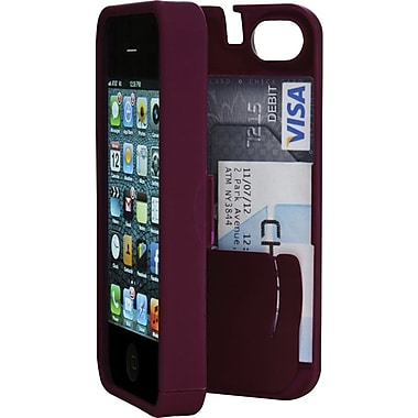 EYN Smartphone Case for iPhone 5/5S with Hinged Storage Back, Syrah