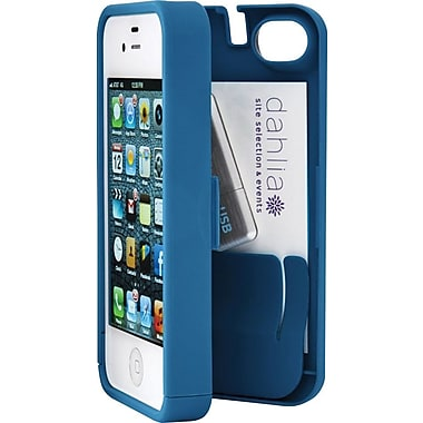 EYN Smartphone Case for iPhone 4/4S with Hinged Storage Back, Turquoise