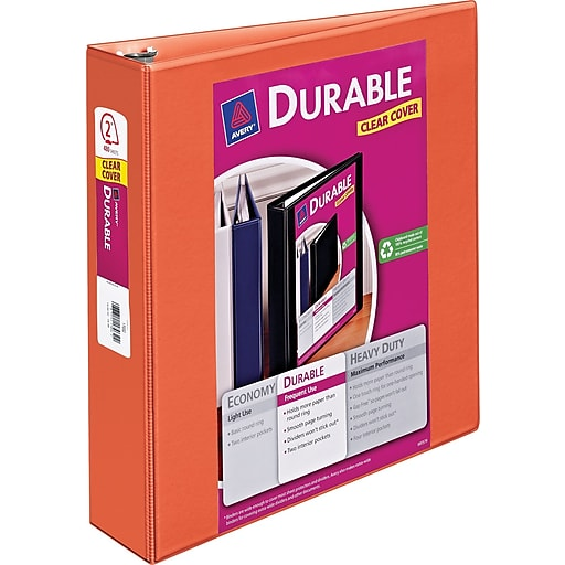 avery durable 2 inch slant d ring view binder orange 34161 staples