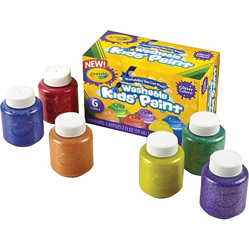 Orange Green Purple Room: Crayola® 2 Oz. Washable Kid's Glitter Paint Set, 6/Pack