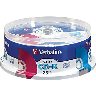 Verbatim® CD-R 52x 700MB/80min, Colors, 25-Pack Spindle