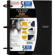 "Five Star Flex® Refillable Notebook, 5 Subject, College Ruled, 11"" x 8-1/2"", Assorted Colors (08128)"