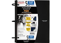 Five Star Flex® Refillable Notebook, 5 Subject, College Ruled, 11' x 8-1/2', Assorted Colors (08128)