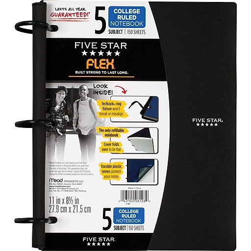 five star flex refillable notebook 5 subject college ruled 11 x