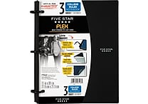 Five Star Flex® Refillable Notebook, 3 Subject, College Ruled, 11' x 8-1/2', Assorted Colors (08126)