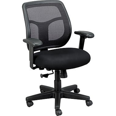 Eurotech Seating MT9400BAS-ONYX Apollo Fabric Mid-Back Task Chair with Adjustable Arms, Basis Onyx