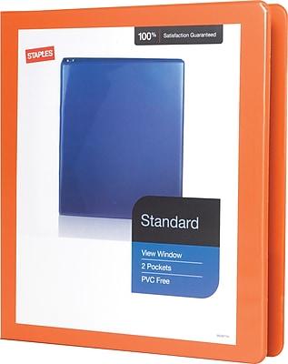 Staples® Standard View Binder with D-Rings, Orange, 220 Sheet Capacity, 1