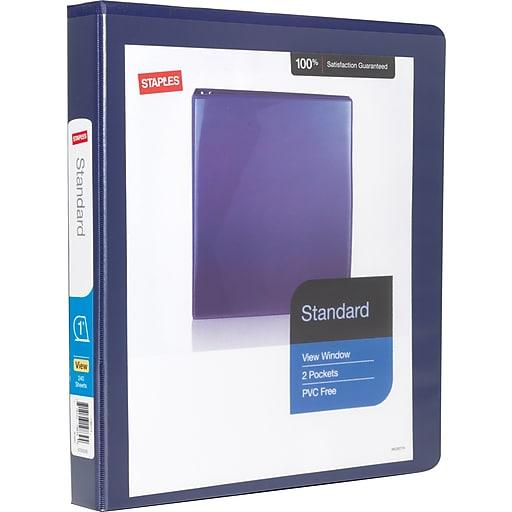 staples standard 1 inch slant d 3 ring view binder blue 24621
