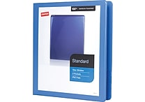 1' Staples® Standard View Binder with D-Rings, Periwinkle