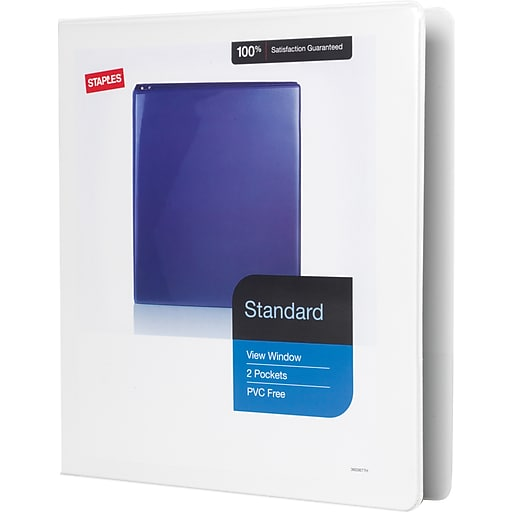 1 staples standard view binder with d rings white staples