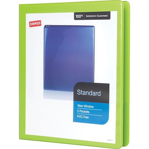 staples standard 5 inch d 3 ring view binder chartreuse 26428 cc