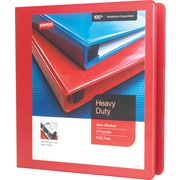 Staples Heavy-Duty 1.5-Inch Slant D 3-Ring View Binder, Red (24681-US)
