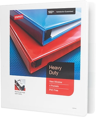 Staples® Heavy-Duty View Binder with D-Rings, White, 350 Sheet Capacity, 1-1/2