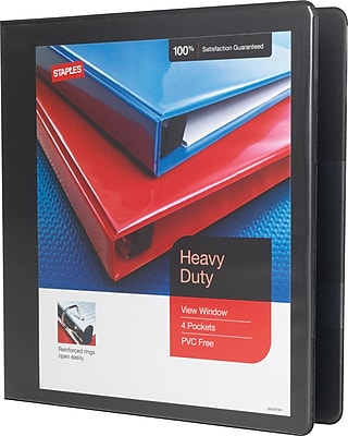 Staples® Heavy-Duty View Binder with D-Rings, Black, 350 Sheet Capacity, 1-1/2