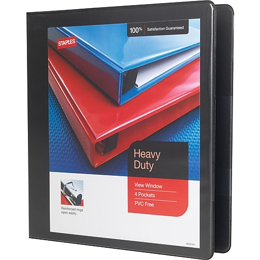 staples heavy duty 1 5 inch slant d 3 ring view binder black 24674