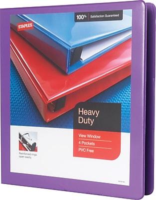 Staples Heavy-Duty 1-Inch Slant D 3-Ring View Binder, Purple (24673-US)