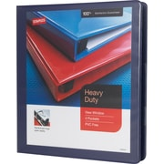 "1"" Staples® Heavy-Duty View Binder with D-Rings, Blue"