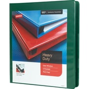 "1"" Staples® Heavy-Duty View Binder with D-Rings, Green"