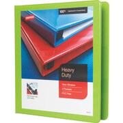 "1"" Staples® Heavy-Duty View Binder with D-Rings, Chartreuse"