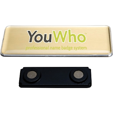 YouWho™ Name Badge Kit, Gold, Laser/Inkjet, 4-Unit