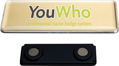 YouWho Name Tag, Gold, Laser, 4-Unit