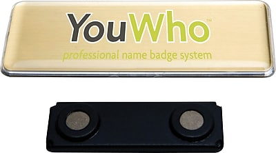 Imprint Plus YouWho™ Inkjet Name Badge, Gold, 4-Unit, 1