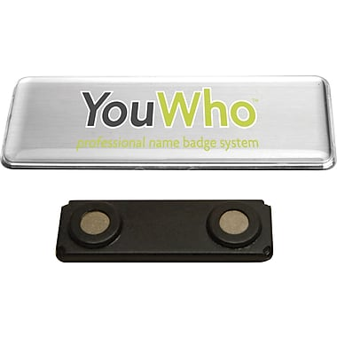 YouWho™ Name Badge Kit, Silver, Laser/Inkjet, 4-Unit