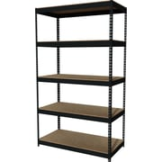 "Hirsh Heavy Duty Industrial Steel Shelving, 5 Shelves, Black, 84""H x 48""W x 24""D"