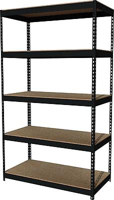 Hirsh Heavy Duty Industrial Steel Shelving, 5 Shelves, Black, 84