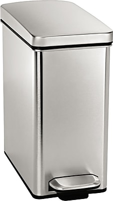 """""simplehuman Profile Step Can, 2.6 Gallon, Stainless Steel, 13 1/3""""""""H x 6 2/3""""""""W x 14 1/4""""""""D"""""" 239850"