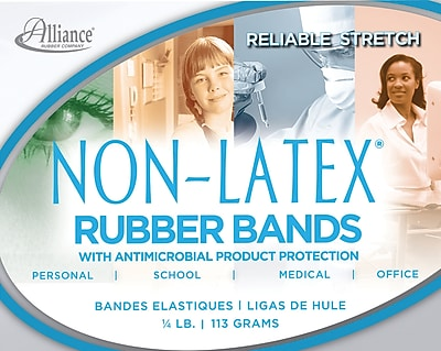 Alliance Non-Latex Rubber Bands with Antimicrobial Product Protection, #33 (3 1/2