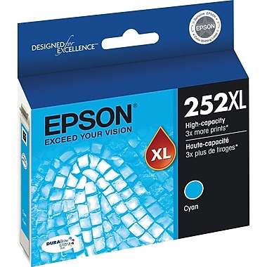 Epson 252XL Cyan Ink Cartridge, High-Capacity (T252XL220)