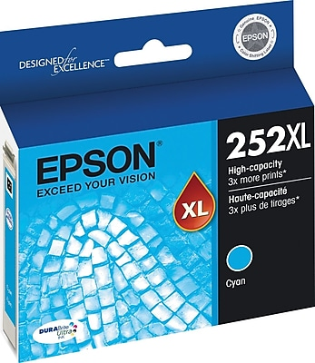 Epson DURABrite Ultra 252XL Cyan Ink Cartridge, High Yield