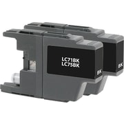 Staples Remanufactured Black Ink Cartridges, Brother LC75BK (SIB-RLC75B2DS), High Yield, Twin Pack