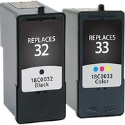 Staples Remanufactured Black and Tricolor Ink Cartridges, Lexmark 32/33 (SIL-R3233CPDS), Combo 2/Pack