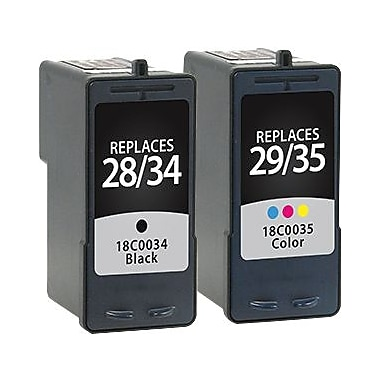 Staples Remanufactured Black and Tricolor Ink Cartridges, Lexmark 34/35 (SIL-R3435CPDS), High Yield, Combo 2/Pack